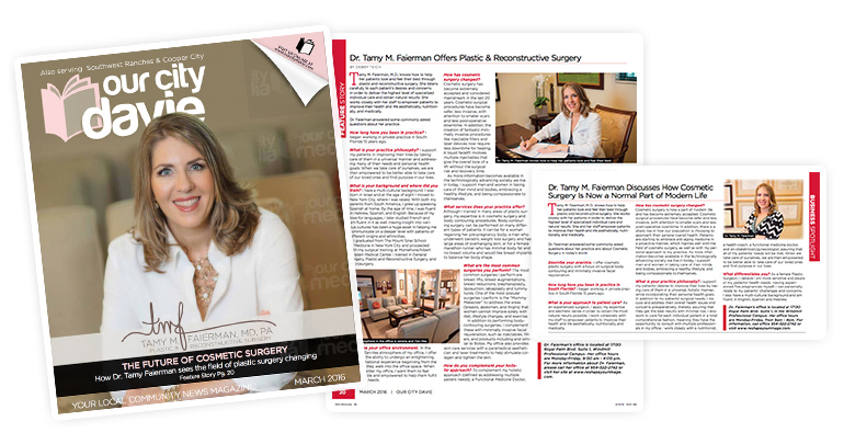 Tamy Faierman MD Our City Davie Magazine Cover and Interview